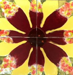 Ceramic tiles decorated with glaze *fun summer flower*