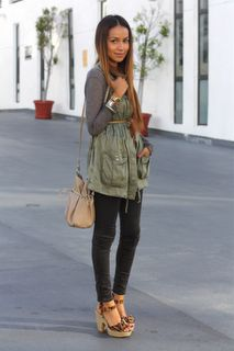 army green with skinnys - super cute