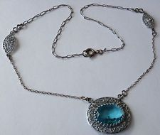 Gorgeous!!! It would bring out my eyes. VINTAGE ART DECO AQUA BLUE STONE FILIGREE NECKLACE STUNNING