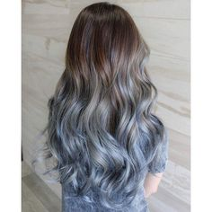 40 Fairy-Like Blue Ombre Hairstyles ❤ liked on Polyvore featuring beauty products, haircare and hair
