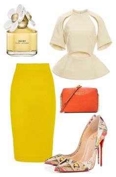 """Untitled #1501"" by styledbycharlieb ❤ liked on Polyvore featuring J.Crew, Christian Louboutin, MICHAEL Michael Kors, Rosie Assoulin and Marc Jacobs"