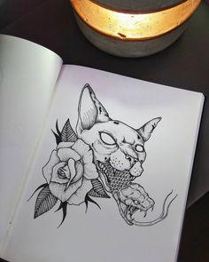#tattoo #tattoos #inked #ink #blackwork #illustration #flashtattoo #blacktattoomag #darkartists #darkart #drawing #flashaddicted #sketchbook #dotwork #blxcink #flashtattoo #traditionaltattoo #oldschooltattoo #blackworksubmission #neotraditional #inkaddict #tattooink #tattoolove #tattooer #tattooed #cat #cattattoo #sphynx #snaketattoo #rosetattoo