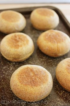 Rise and shine with these homemade whole wheat English muffins. easier to make than you'd Low Carb English Muffin, Whole Wheat English Muffin, English Muffin Recipes, Sourdough English Muffins, Homemade English Muffins, Best Bread Recipe, Bread Recipes, Simple Muffin Recipe, Best Breakfast