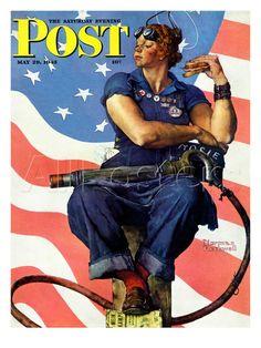 Rosie the Riveter Saturday Evening Post Cover, May 29,1943 Gicléedruk van Norman Rockwell bij AllPosters.nl
