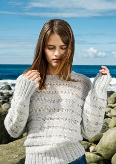 Modell 5 by Sandnes garn Crochet Sheep, Knit Crochet, Sweater Knitting Patterns, Knitting Sweaters, Sweater Cardigan, Pullover, Stitch, Casual, Chic