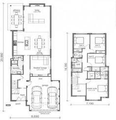 Plano de casa de dos pisos cuatro dormitorios