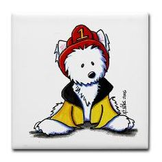 Fireman Westie Tile Coaster by Kim Niles. Kim is a children's book illustrator and author, as well as the artist, designer and owner of 'KiniArt'.