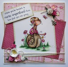 Pink and girly card featuring Sally and her snail by Stamping Bella