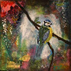 Stillness - Original bird mixed media painting on wood panel by JaneHinchliffe. £100.00, via Etsy.