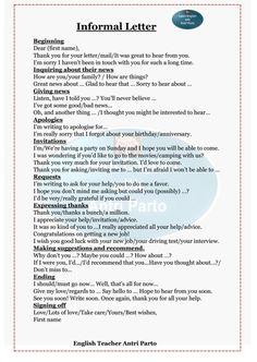 Informal letter Letter Writing Examples, Letter Writing For Kids, English Letter Writing, Informal Letter Writing, English Writing Skills, English Words, English Lessons, Learn English, English Exam