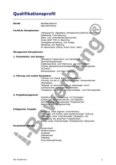beispiel qualifikationsprofil zur initiativbewerbung - Qualifikationsprofil Muster