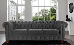 Divano Roma Furniture Velvet Scroll Arm Tufted Button Chesterfield Style Sofa, Black ~ Sofas and Couches ~ Olivia Decor - decor for your home and office. Tufted Sofa, Sofa Upholstery, Leather Chesterfield, Reupholster Furniture, Sectional Sofa, Red Velvet Sofa, Black Velvet, Do It Yourself Sofa, Apartment Ideas
