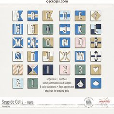 Digital scrapbooking Seaside Calls Alpha - Collaboration by ninigoesdigi and Anita Designs at Oscraps. Perfect for all you seaside memories, at the beach or at sea. Inpired by the maritime flag signal.