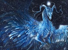 Amazing blue dragon and orb