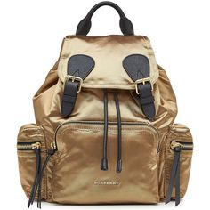Burberry Shoes & Accessories Satin Backpack ($1,240) ❤ liked on Polyvore featuring bags, backpacks, gold, utility bag, satin bags, backpack bags, burberry and burberry backpack