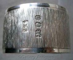 SOLD VINTAGE Mappin & Webb SOLID SILVER heavy BARK EFFECT serviette NAPKIN RING 1968