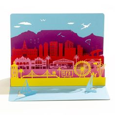 An ethereal multi-layered papercut card Laser cut from brightly coloured card 21cm x 15cm (folded) with five 5 pop-up layers Envelope included The Story of Artymiss Price includes 14% VAT