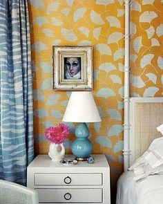Gina Kates: Kimberly Ayres - Metallic gold and turquoise blue wallpaper, turquoise blue gourd lamp,  ...