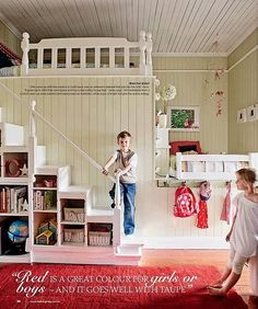 Cute built in bunks using taupe and red - works for either boys or girls. Love the accessible stairs rather than a ladder.