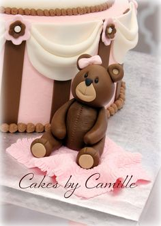 Teddy Bear Cake topper for baby shower, pink and brown, Cakes by Camille