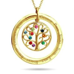 Family tree necklace - Thrill Mom Grandma or your wife with this gorgeous family tree birthstone necklace! The outer ring features the kids' names.wonderful Mother's Day Christmas or birthday gift! Gold Name Necklace, Birthstone Necklace, Circle Necklace, Necklace With Kids Names, Pink Diamond Ring, Family Tree Necklace, Emerald Earrings, Key Pendant, Or Rose