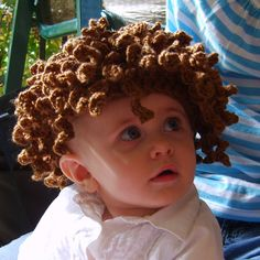 Items similar to Kiddy Lidders - Adorable Curly Brown Hat Crochet Hair    Wig - Handmade - Perfect for Winter and the Holidays - Baby 585ece24edb