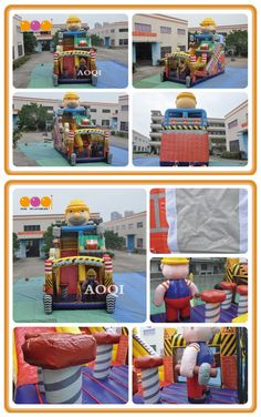 AQ01400(5*10*9m/16.4'*32.8'*29.53') This is an inflatable little builder combo for sale. You can slide ,you can climb,you can jump. Get the purpose of entertainment and exercise. Our company do a good job in every product. Welcome to consult.