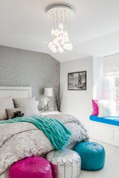 Neutral bedroom with pops of colour