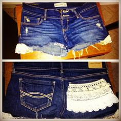 I made some shorts today! #lace #denim #crafting