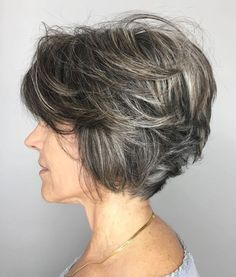 Layered tousled salt and pepper bob for a great short textured hairstyle for the over 50 Hair Styles For Women Over 50, Hair Color For Women, Long Hair Styles, Short Styles, Growing Out Short Hair Styles, Bob Hairstyles For Fine Hair, Short Hairstyles For Women, Cool Hairstyles, Pixie Hairstyles