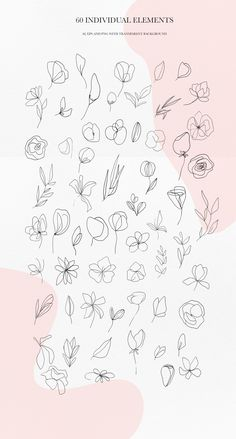 Botanical line art clipart by AnastasiiaCo on Line Art Flowers, Flower Art, Art Clipart, Art Floral, Floral Drawing, Flower Tattoos, Small Tattoos, Line Art Tattoos, Digital Painting Tutorials