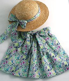 """Liberty Tana Lawn Skirt in """"Rochester"""" with Matching Straw Hat for a Little Girl"""