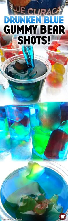 These shots look like gummy bears swimming in an island paradise. So chill. so delicious. Las bebidas energéticas s Fancy Drinks, Bar Drinks, Summer Drinks, Cocktail Drinks, Alcoholic Drinks, Vodka Cocktails, Beverages, Gummy Bear Shots, Gummy Bears