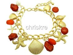 Red Coral Natural Stone Pearl Gold Beach Bracelet Sea Shells Starfish USA Seller #Statement