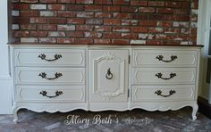 Mary Beth's Place: Dressers Thomasville dresser refinished in a custom mix of General Finishes whites, top restained in Java gel stain.