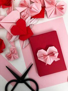 4 Adorable + Valentine Origami DIYs | Poppytalk Valentine Special, Valentines For Kids, Valentine Day Gifts, Valentines Origami, Origami Rose, Gifts For Your Boyfriend, Origami Tutorial, Valentine's Day Diy, Diys