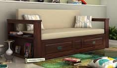 Riota Couch Cum Bed With Storage (King Size, Walnut Finish)-1