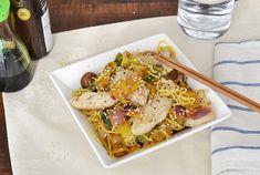 Japanse noodles met witvis en mangosaus