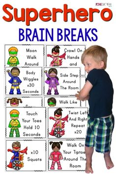 Brain Breaks Give your superhero a brain break! The superhero brain break cards are so much fun!Give your superhero a brain break! The superhero brain break cards are so much fun! Super Hero Activities, Gross Motor Activities, Movement Activities, Preschool Activities, Physical Activities, Super Hero Crafts, Preschool Classroom Themes, Music Activities, Superhero Preschool