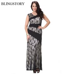 26377ebbe8f BLINGSTORY European Vintage Fashion big size 7xl Women Maxi Long Black Lace  dress Evening Party XL 7XL CM7007-in Dresses from Women s Clothing    Accessories ...
