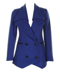 Take a look at this Royal Blue Double-Breasted Wool-Blend Blazer by Darling on #zulily today!