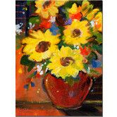 """Found it at Wayfair - """"Sunflowers With Red Bowl"""" by Sheila Golden Painting Print on Wrapped Canvas"""