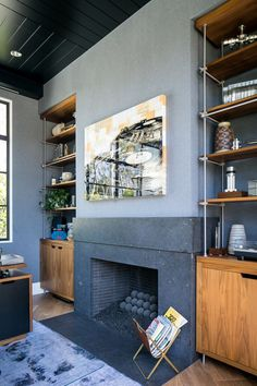 Embrace bold design choices for your fireplace. A fireplace with black firebrick can look sleek and modern. Visit earthcore.com to recreate this Isokern Fireplace in your home. Granite Fireplace, Granite Slab, Black Granite, Corner Wood Stove, Steel Doors And Windows, Built In Desk, Built Ins, Modern Staircase, Scandinavian Home