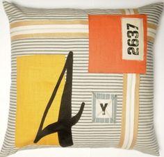 #07 nautical patchwork on black ticking pillow
