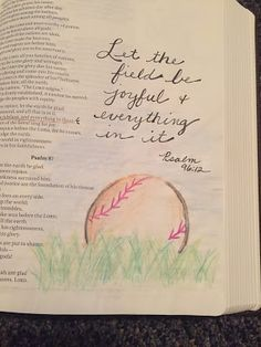 from the hive: bible journaling, baseball, water color, Psalm 96:12 Let the field be joyful