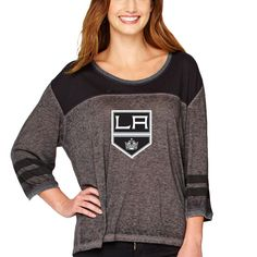 Los Angeles Kings Soft As A Grape Women's Vintage Jersey 3/4-Sleeve T-Shirt - Black/Charcoal - $44.99