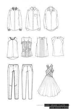 Fashion Portfolio - hand-drawn fashion design flats; technical fashion drawings // Emma Dobson: