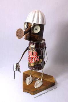 """Old Keg"" ~ Original junk art sculpture created by Laurie Schnurer in 2014. Looks like he's ready to get to work drilling something."