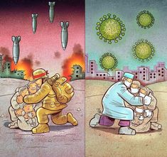 The Heroism of Health Workers for Coronavirus Patients Earth Drawings, Cool Art Drawings, Art Drawings Sketches, Drawing Ideas, Illustrations, Illustration Art, Pictures With Deep Meaning, Art Environnemental, Nurse Art