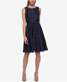 Tommy Hilfiger Tie Waist Fit & Flare Dress